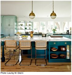Color Combo :: Teal + Mint + Gold. Would work well with existing dark wood and brass fixtures. // kitchen