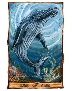 Tarot Card Art King of Cups Humpback Whale Art by rainbowofcrazy, $17.50