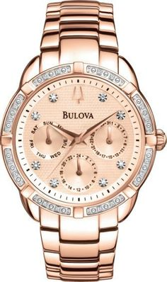 Cool Rolex Men Gold Watch Bulova 96R195 Women's Watch Diamond Bracelet Silver-Tone Dial Day/Date