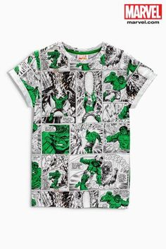 Buy Green/White Hulk Comic All Over Print T-Shirt (3-16yrs) online today at Next: United States of America