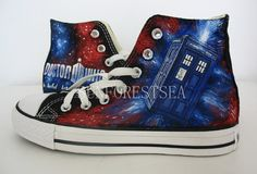 Doctor Who/converse/hand painted shoes/canvas by SUNFORESTSEA, $79.00
