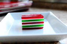 Christmas Finger Jello. I might just trade out the red and green for yellow and orange; then I'll have candy-corn colors for fall :-)