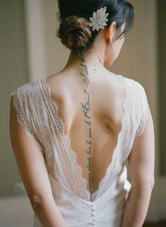 Cool girl back bride tattoo, Bride lovely tattoos Tattoo Son, Text Tattoo, Brides With Tattoos, Beautiful Tattoos, Party Fashion, Cool Girl, Dream Wedding, Garden Wedding, Elegant Wedding