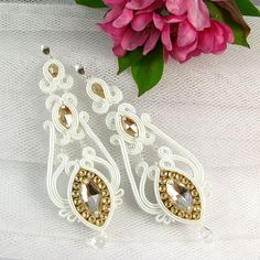 White and golden soutache earrings Dangle long bridal earrings bridal wedding jewelry with zircons and Swarovski crystals Soutache Necklace, Beaded Earrings, Bridal Earrings, Wedding Jewelry, Wing Earrings, Shibori, Beaded Embroidery, Dangles, Handmade Jewelry