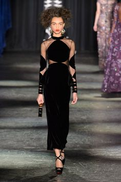 Naeem Khan sheer panel dress on the New York Fashion Week runway. (Naeem Khan 2016 Collection)