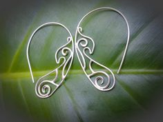 Sterling Silver Polynesian Wave Oval Hoop Earrings on Etsy, $47.00