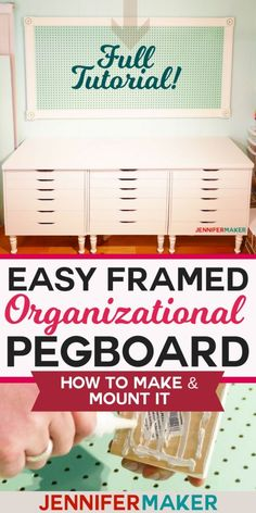 Large Framed Pegboard to Organize Your Craft Room - Jennifer Maker How to make . - Large Framed Pegboard to Organize Your Craft Room – Jennifer Maker How to make a framed pegboard - Sewing Room Organization, Craft Room Storage, Organization Ideas, Craft Rooms, Storage Ideas, Pegboard Craft Room, Kitchen Pegboard, Pegboard Storage, Scrapbook Organization