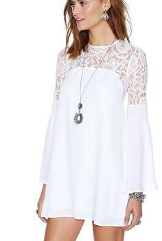 las mujeres semi blanco de encaje pura manga de campana del recorte de nuevo vestido de princesa