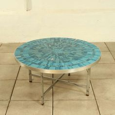 Chromed Metal and Glazed Ceramic Tile Coffee Table, Vintage Furniture, Cool Furniture, Painted Furniture, Furniture Design, Tile Tables, Mosaic Tables, Tile Art, Mosaic Art, Tiled Coffee Table