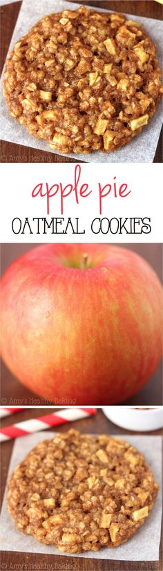 Clean-Eating Apple Pie Oatmeal Cookies -- these skinny cookies don't taste healthy at all! You'll never need another oatmeal cookie recipe again! #oatmeal #recipes #healthy #energy #weightloss