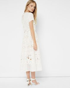 Sheer panel lace dress - Ivory | Dresses | Ted Baker UK