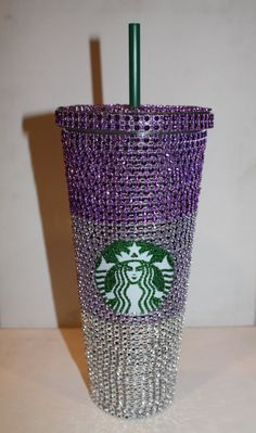 When I win the lottery ------- Purple Ombre Crystal Starbucks Cold Cup by TheFawnDoe on Etsy, $33.00