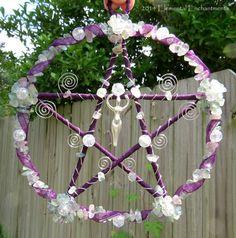 Fluorite Silver Goddess Pentacle Mixed Media Beaded Sculpture Purple And Green OOAK