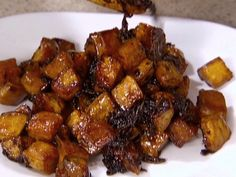 Maple Roasted Sweet Potatoes recipe from Claire Robinson via Food Network Roasted Sweet Potato Cubes, Sweet Potato Recipes, Vegetable Recipes, Vegetable Snacks, Food Network Recipes, Cooking Recipes, Healthy Recipes, Kid Recipes, Healthy Dinners