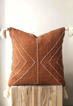 Burnt Orange Pillow with Tassels. Hand-dyed rust colour with stitch finish. Australia cushions - home sweet home - Orange Orange Throw Pillows, Diy Pillows, Decorative Pillows, Boho Throw Pillows, Sitting Pillows, Colorful Pillows, Accent Pillows, Living Room Chairs, Home Decor Accessories