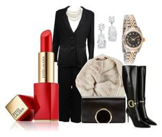 Long Day by sophiejupiter on Polyvore featuring polyvore, fashion, style, Giorgio Armani, Gucci, Chloé, Rolex, Christian Dior, Bajra, Estée Lauder, women's clothing, women's fashion, women, female, woman, misses and juniors