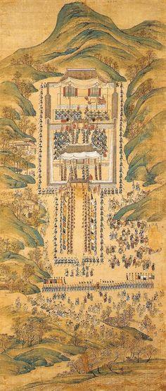 화성능행도 병풍, King Jung-jo's royal procession to Hwasung, Korea Korean Painting, Chinese Painting, Modern Pictures, Old Pictures, Korean Art, Asian Art, Buddhist Monk, Korean Traditional, Old Paintings