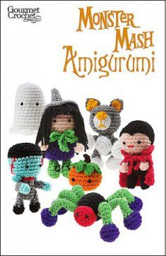 http://www.maggiescrochet.com/monster-mash-amigurumi-p-1053.html  Monster Mash Amigurumi uses basic crochet stitches to make each fun design. A beginner might find the color changes somewhat challenging, but with a little effort all skill levels will be able to create some Halloween fun. Worsted weight yarn and easy skill.