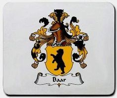 Baar Family Shield / Coat of Arms Mouse Pad $11.99