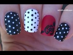 Matte With Rose And Polka Dot Nail Design: Friday's video is a matte nail art tutorial, with polka dot and rose nail idea. Matte Nail Art, Rose Nail Art, Floral Nail Art, Nail Nail, Nail Tech, Nail Polish, Dot Nail Designs, Heart Nail Designs, Simple Nail Art Designs