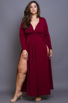 Plus Size Sexy Maxi Long Sleeved Dress