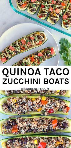 Here's how to make the best zucchini boat #healthy #vegetarian #vegan #dairyfree #glutenfree #keto #easy #veganrecipe #easyrecipe Easy Vegan Dinner, Vegan Dinner Recipes, Vegan Dinners, Lunch Recipes, Vegetarian Recipes, Healthy Recipes, Delicious Recipes, Egg Free Recipes, Vegan Tacos
