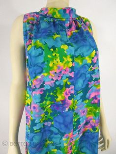 "60s Colorful Hawaiian Dress by Iolani. bust: up to 47"", waist: up to 54"" http://www.betterdressesvintage.com/products/60s-hawaiian-tent-dress-sm-med-lg"