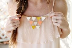 DIY Geometric necklace using paint chips!