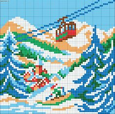 Snowy mountain gondola scene chart for cross stitch, knitting, knotting, beading, weaving, pixel art, and other crafting projects.