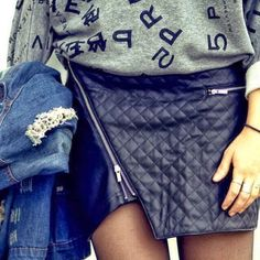 How to Chic: ZIPPER LEATHER SKIRT