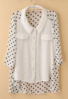 White Half Sleeve Dot Print Back Dip Hem Chiffon Blouse - Sheinside.com