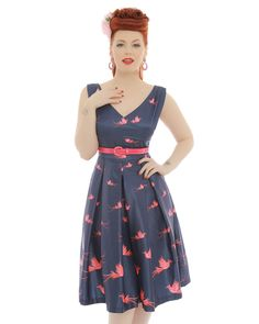 'Valerie' Navy Bird of Paradise Print Swing Dress