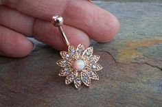 White Fire Opal Flower Rose Gold Belly Button Ring