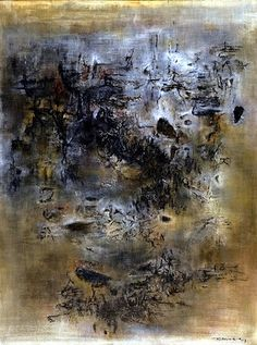 """Zao Wou-Ki (1920-2013) ~ """"Vent et Poussière"""", 1957 ~ Huile sur Toile (128,6 x 95,7 cm) Abstract Art Images, Art Above Bed, Art Asiatique, Beginner Painting, To Infinity And Beyond, Love Painting, Art Plastique, Chinese Art, Abstract Expressionism"""
