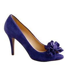 So pretty. Evie fleurette peep-toe pumps   $258.00.  J. Crew