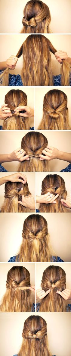 Check it out Hair Bow | Click Pic for 23 Step by Step Hairstyles for Long Hair | DIY Hairstyle Tutorials for Long Hair  The post  Hair Bow | Click Pic for 23 Step by Step Hairsty ..