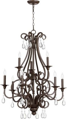"""Entry - Anders Family 28"""" Oiled Bronze Chandelier 6013-9-86"""