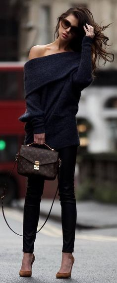 cool outfit / one shoulder sweater bag skinnies heels