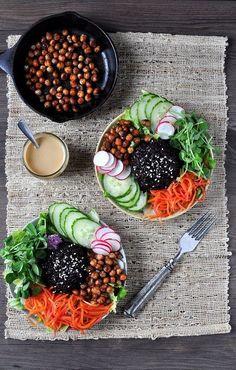 A nourishing bowl of black rice, pea shoots, pickled carrots & spiced chick peas. A nourishing bowl of black rice, pea shoots, pickled carrots & spiced chick peas. Raw Vegan Recipes, Paleo, Veggie Recipes, Keto, Healthy Recipes, Rice Recipes, Vegan Vegetarian, Atkins, Black Rice