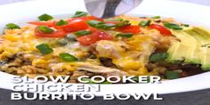 Slow Cooker Chicken Burrito bowl, easy slow cooker recipe that is packed with flavor!