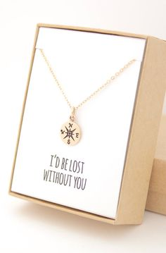 Lovely Clusters - Beautiful Shops: Gold Compass Necklace - I'd be lost without you - Mother's Day