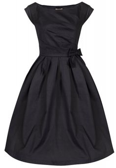 Elegant 50s Audrey Hepburn Dress / Pleated Black Dress with Bow detailing. Buy Online. UK 8-22 #plussize #vintage #fashion