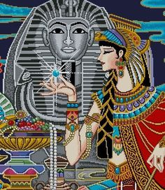 Lovely Egyptian Queen by CrossStitchRinna on Etsy