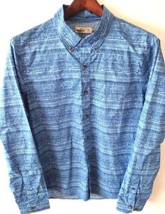 Hollister California Blue Button Front Shirt XL Men's Long Sleeves 100% Cotton  #Hollister #ButtonFront #Mens #Striped #Casual #Shirts