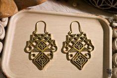 Röötz- Gypsy Brass Earrings, Filigree Earrings, Boho Earrings, Tribal Earrings, Gold Earrings, Vintage Style, Ethnic Jewelry, Indian