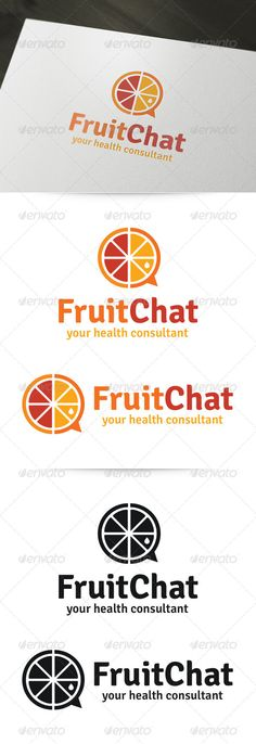 """I really like how the logo itself is like a chat bubble which is part of its name, """"FruitChat"""". The fruit in the middle is split in the middle showing that it is two differ types of fruits. The logos at the bottom shows how it would look in black and white."""