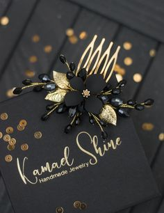 Black gold hair comb, Gold floral hair pieces, Total all black headpiece, Hair accessory for bridesmaid, Dark hairclip Bridesmaid Hair Accessories, Bridal Accessories, Cute Jewelry, Hair Jewelry, Black Hair Comb, Korean Accessories, Twists, Decorative Hair Combs, Lace Front