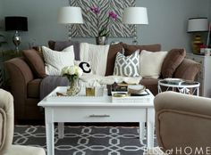 Living Room Brown Couch To Modernize The Space Grey Wall Color With White Wooden Coffee Table For Impressive Decorating Ideas