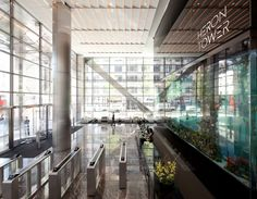 Office Building Lobby, Blinds, Curtains, Home Decor, Decoration Home, Room Decor, Shades Blinds, Blind, Draping