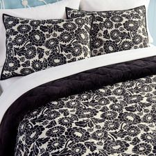 Pongee Reversible Shearling Quilt & Sham Set – Black and Ivory Floral Was: $69.00 - $115.00                         Now: $55.00 - $92.00